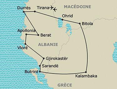 L'itinéraire de votre circuit dans les Balkans