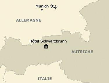 La situation de l'hôtel Schwarzbrunn