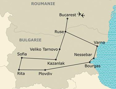 Itinéraire de votre circuit en Bulgarie