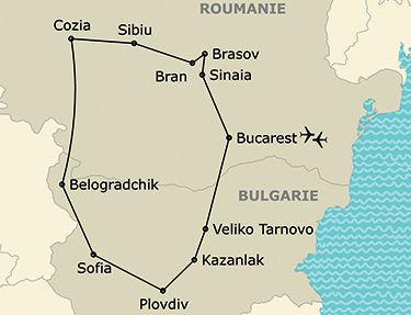 L'itinéraire de votre circuit en Bulgarie