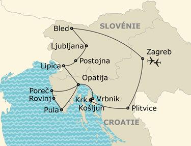 L'itinéraire du circuit De la Croatie du nord au charme slovène