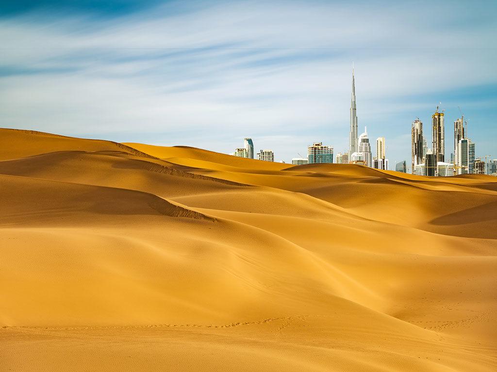 Vue du désert de Dubaï, aux Émirats arabes unis