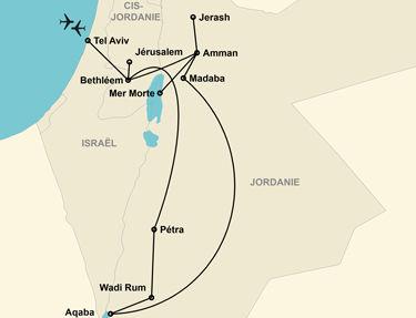 L'itinéraire du circuit en Jordanie et Israël