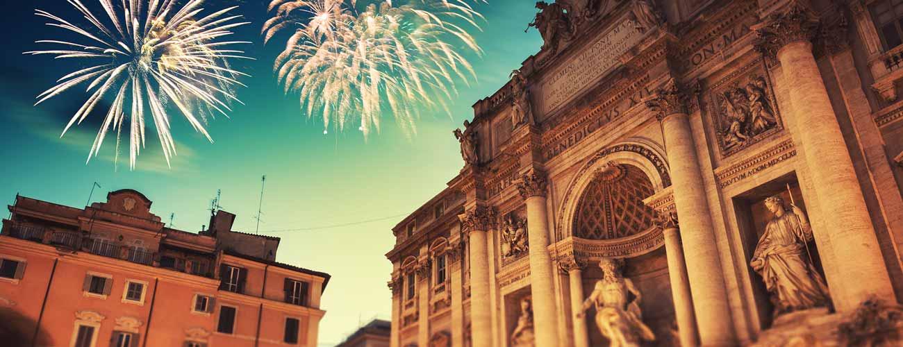 Feux d'artifice à Rome, en Italie