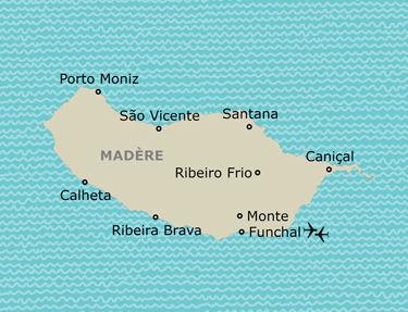 Itinéraire de votre programme à Madère