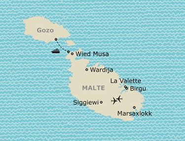 Itinéraire de votre circuit à Malte