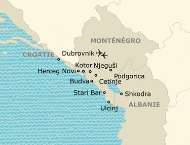 L'itinéraire du circuit perles du Monténégro et touches balkaniques