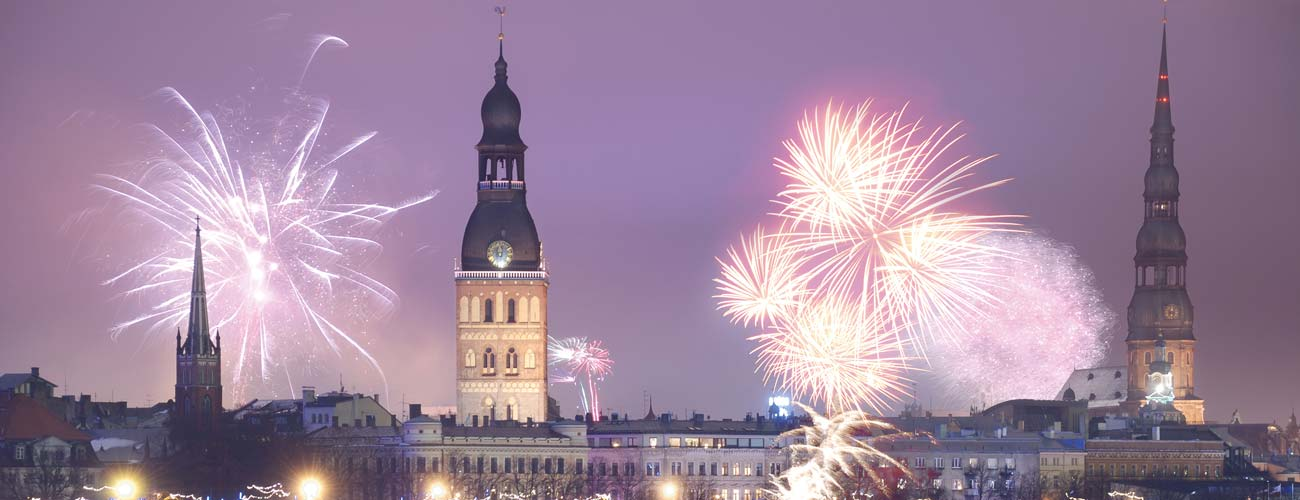 Feux d'artifices à Riga