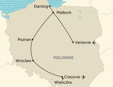 L'itinéraire du circuit en Pologne