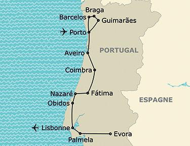 L'itinéraire de l'autotour La Portugal autrement