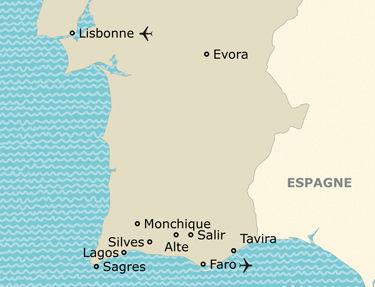 L'itinéraire du circuit Lisbonne et les côtes ensoleillées de l'Algarve