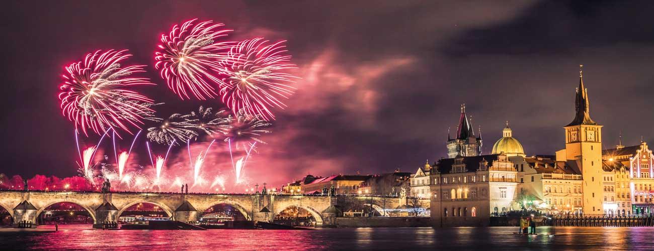 Feux d'artifice à Prague
